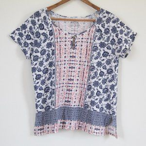 Lucky Brand Mixed Media Floral Keyhole Front Tee